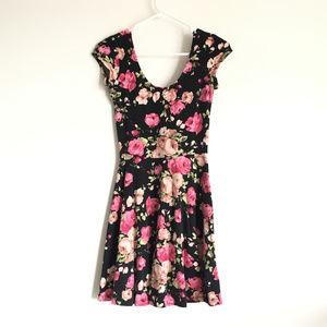 UO Floral Print Soft Scoop U Neck Short Dress